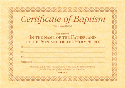 Child Baptism Certificate & Envelope