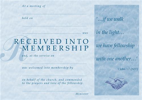 Church Membership Certificate & Envelope