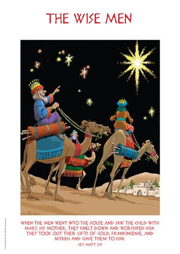 The wise men approaching the stable