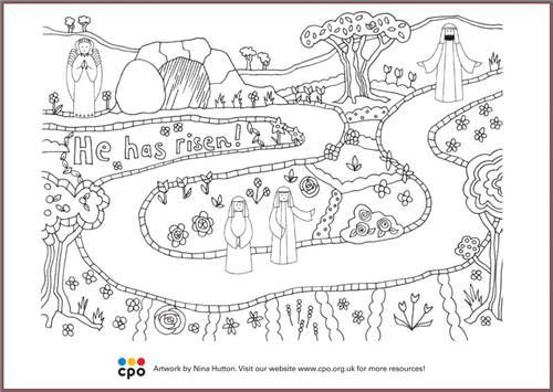 He Has Risen - Free Download Colouring-in Sheet