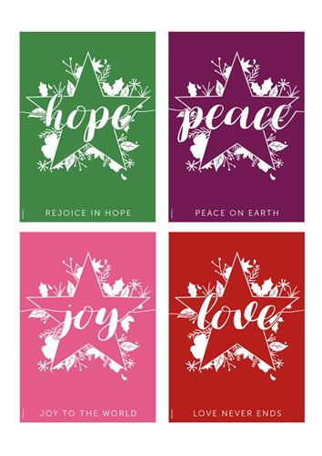 Hope Peace Joy Love - (pk4) Poster Pack