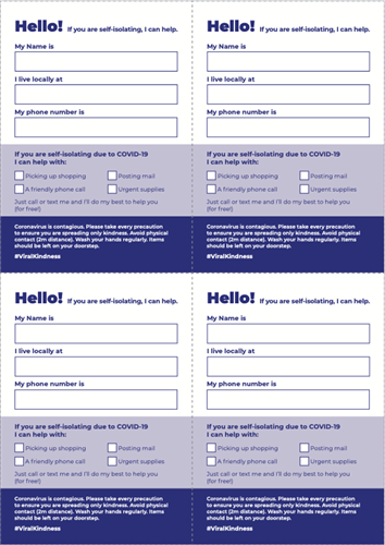 Self-isolating Kindness Postcard - Free Download