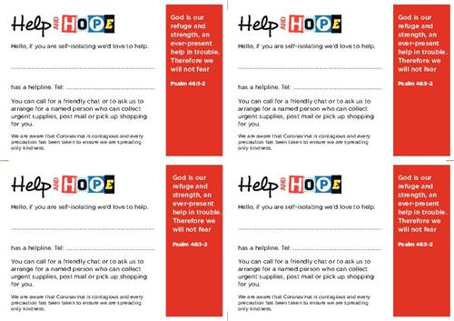 Help and HOPE Postcard - Free Download
