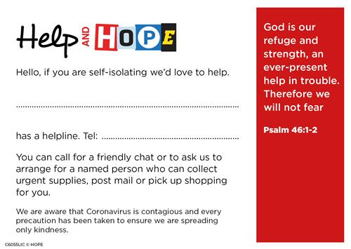 Help and HOPE Postcard