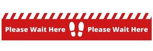 Please Wait Here Sticker (750mm x 150mm)