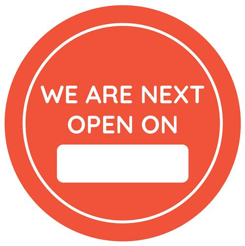 We Are Next Open On - External Window Cling (300mm)