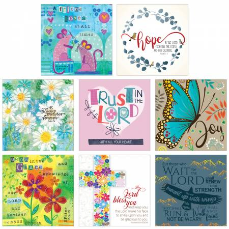 Pack of 8 Christian Notelets Butterfly, Mice, Flowers, Eagle