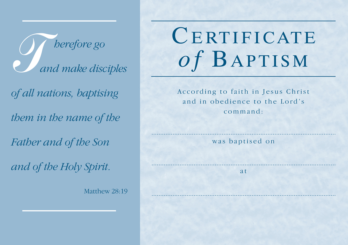 Baptism certificate baptism certificate free printable for Free water baptism certificate template